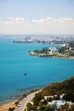 Kust landschap van de stad van Tunis stock foto