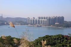 Kust- landskap i Tsing Yi, Hong Kong Arkivbild