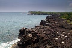 Kust- landskap på den stora ön Royaltyfri Foto