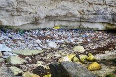 Kust med plast-- och polyetylenavfalls, packar, flaskor, milj?- problem av det 21st ?rhundradet, non royaltyfri bild