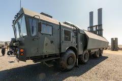 Kust- missillauncher för bastion med Yakhont och för P-800 Oniks anti--skepp missiler tillbaka sikt arkivfoto