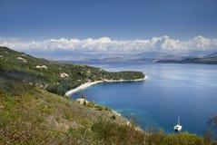 kust northwest corfu Royaltyfri Foto
