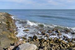 Kust på Saintes-Maries-de-la-Mer i Frankrike Arkivfoton