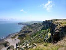 Kust- plats med clifftops Royaltyfria Foton