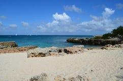 Kust- sikter av Aruba med vita sand och Lava Rock Royaltyfri Fotografi