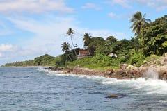 Kust- sikter av en tropisk karibisk ö Arkivbild