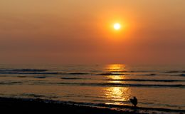 Kust- solnedgång med den unga surfaren i kontur Arkivfoton