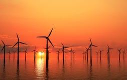 Kust- solnedgång för windturbiner Arkivbild