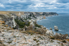 Kust Tarhankut, Dzhangul Krim Ryssland Arkivfoton