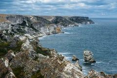 Kust Tarhankut, Dzhangul Krim Ryssland Royaltyfria Bilder