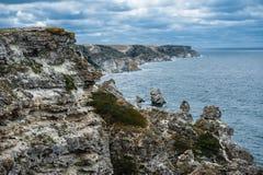 Kust Tarhankut, Dzhangul Krim Ryssland Arkivbilder