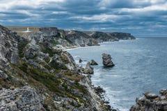 Kust Tarhankut, Dzhangul Krim Ryssland Fotografering för Bildbyråer