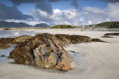 Kust in Tully Cross, het Nationale Park van Connemara Stock Foto