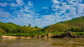 Kust van de Machtige Mekong Rivier stock foto