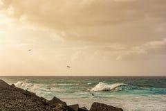 Kust van een oceaan met golven en een mooie hemel bij zonsondergang stock afbeelding