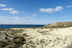 Kust van het woestijn de witte zand royalty-vrije stock afbeelding