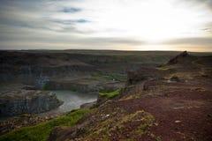Kust van Ijslandse rivier Jokulsa een Fjollum Stock Fotografie
