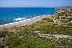Kust van Middellandse Zee in Cuprus Stock Foto's