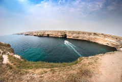 Kust van schiereiland Tarhankut stock afbeeldingen