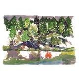 Kust vattenfärgen för dammet för sjöfloden skissar träd arkivbilder