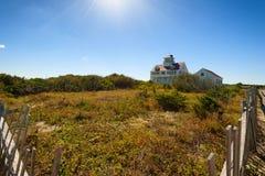Kustbevakning House och kustbevakning Beach Cape Cod Fotografering för Bildbyråer