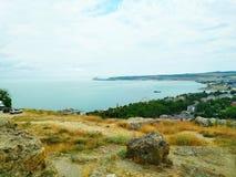 Kusten av Blacket Sea, Krim, Kerch arkivfoton