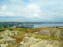 Kusten av Blacket Sea, Krim, Kerch arkivbild