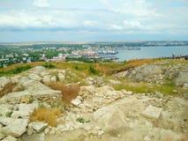 Kusten av Blacket Sea, Krim, Kerch royaltyfria foton