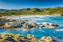 Kusten av den Korsika och Ostriconi stranden Arkivbild