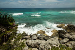 Kusten av havet med vågor Arkivfoton
