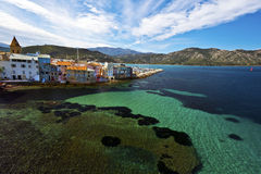 Kusten av helgonet Florent Bay i Korsika Royaltyfria Foton