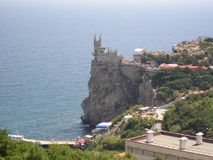 Kusten av Krim svalas rede, den huvudsakliga dragningen, en monument av arkitektur, Blacket Sea arkivbild