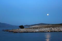 Kusten i månsken med vit vaggar Arkivbild
