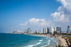 Kusten ser i Tel Aviv i Israel Arkivbild