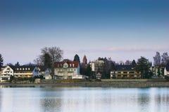 Kusten van het Meer van Konstanz in de winter Royalty-vrije Stock Foto