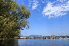 Kuster av sjön Maggiore med växter, solen och fartyg Arkivfoto