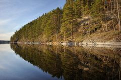 Kusterna av Lake Ladoga Karelia Ryssland royaltyfria foton