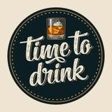 Kustfartyg med flaskan och exponeringsglas med öl, whisky, tequila, konjak, rom vektor illustrationer
