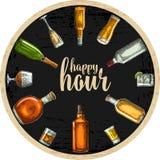 Kustfartyg med flaskan och exponeringsglas med öl, whisky, tequila, konjak, rom stock illustrationer