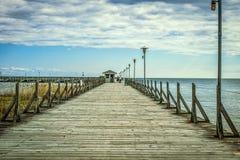 Kustfiske Pier Background Royaltyfria Bilder
