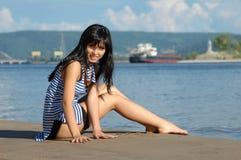 kustflickabarn Royaltyfri Fotografi