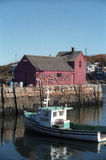 Kusthavenscène in Rockport Massachusetts stock foto's