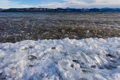 KustisLage Laberge frysning-upp Yukon Kanada royaltyfri foto