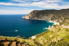 Kustlandschap, Cinque Terre, Ligurië, Italië Royalty-vrije Stock Fotografie