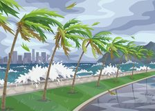 Kustlandschap met Onweer in Oceaan Royalty-vrije Stock Afbeeldingen