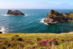 Kustlijn bij de kust Van Cornwall dichtbij Boscastle, Cornwall, Engeland Stock Foto's