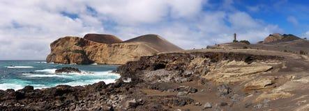 Kustlijn dichtbij Capelinhos, Faial de Azoren Royalty-vrije Stock Afbeeldingen