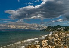 Kustlijn Korfu en Albanië Royalty-vrije Stock Foto