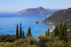 Kustlijn in Korfu, Griekenland Stock Foto