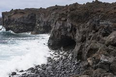 Kustlijn op Lanzarote royalty-vrije stock fotografie